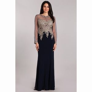 Long Sleeve Navy Sexy Gold Lace Dress